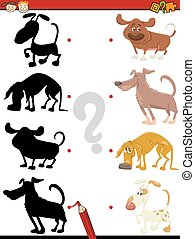 kindergarten shadow task with dogs - Cartoon Illustration of...