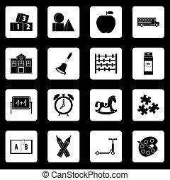 Kindergarten symbol icons set squares vector