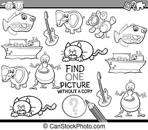 kindergarten task coloring book - Black and White Cartoon...