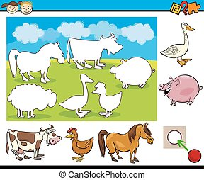 kindergarten task for preschoolers - Cartoon Illustration of...