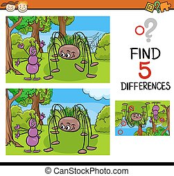 kindergarten task of differences - Cartoon Illustration of...