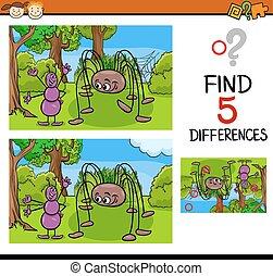 kindergarten task of differences - Cartoon Illustration of...