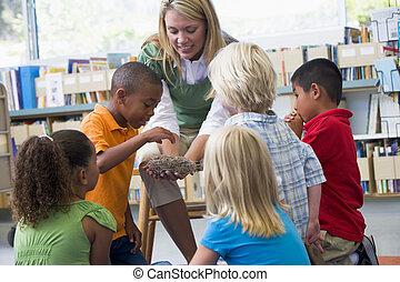 Kindergarten teacher and children looking at bird's nest in ...