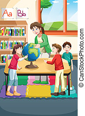Kindergarten teacher and students - A vector illustration of...