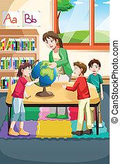 Kindergarten teacher and students - A vector illustration of...