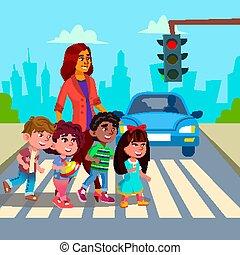Kindergarten Teacher Transfer Across The Road Little Boys And Girls Vector. Isolated Illustration