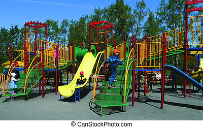 kindergarten - The plays of children on the playing ground