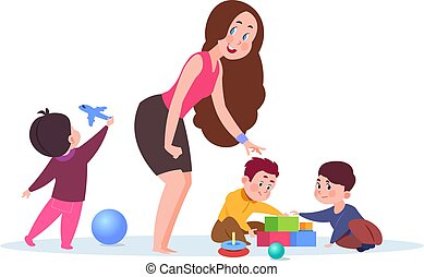 Kindergarten time. Cute cartoon toddlers, adorable teacher. Young nanny or babysitter and playing kids vector illustration