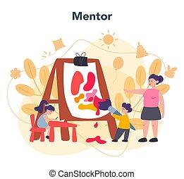 kindergartener., enfants, différent, professionnel, nany