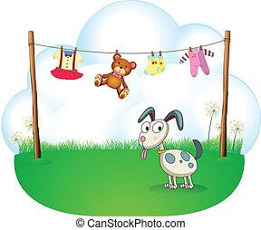 kindergoed, puppy, hangend