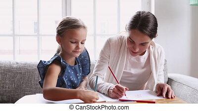 kinderjuffrouw, jong meisje, samen, school, potloden, ...