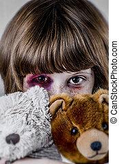 kindermißbrauch, begriff, traurige , girl., gewalttätigkeit,...