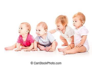 kindertijd, concept., schattig, baby's, op wit, achtergrond