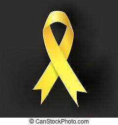 kindertijd, kanker, bewustzijn, geel lint, op, donker, achtergrond., vector