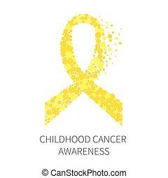 kindertijd, kanker, bewustzijn, lint