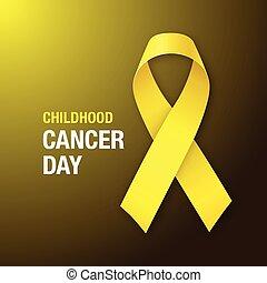 kindertijd, kanker, day., bewustzijn, gele, ribbon.