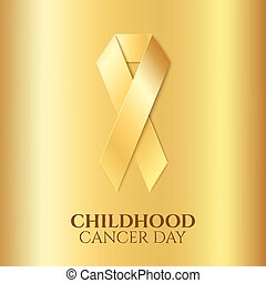 kindertijd, kanker, gouden, ribbon.