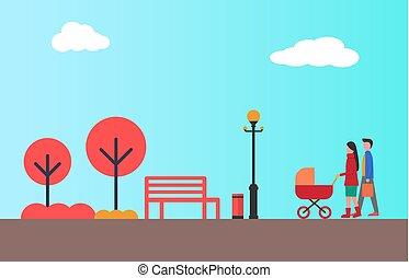 kinderwagen, gehen, paar, zusammen, herbst, glücklich