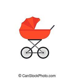 kinderwagen, illustration., plat, wagen, vector, baby, spotprent, design.