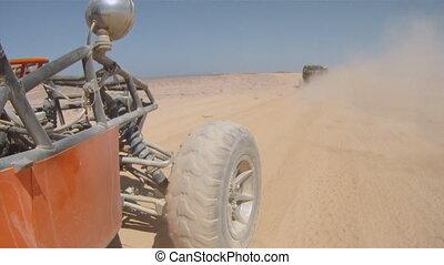 kinderwagen, in, der, wüste
