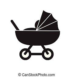 kinderwagen, kinderwagen, eenvoudig, schattig, plat, black , nad, witte , pictogram, vector, pictogram