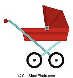 kinderwagen, kinderwagen, pictogram, plat, stijl