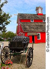 kinderwagen, rote scheune