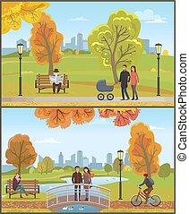 kinderwagen, set, stad, paar, park, herfst, vector