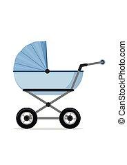 kinderwagen, vrijstaand, illustratie, wandelaar, achtergrond., wagen, vector, baby, witte , kinderen