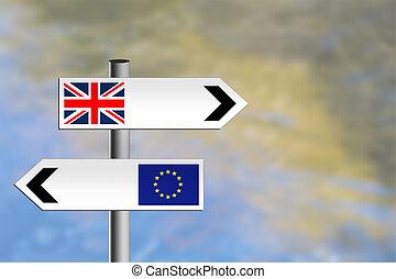 kindgom, ヨーロッパ, 合併した, eu, roadsign