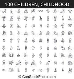 kindheit, neugeborenes, lebensstil, schläge, editable, concept., heiligenbilder, abbildung, gesundheit, vektor, kinder, teenager, preschooler, spiele, linie, kind, spielende , signs., kindergarten