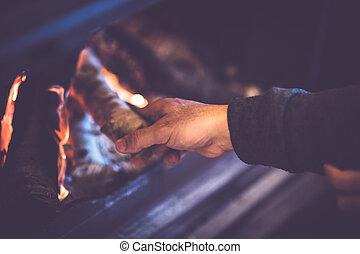 kindles, 暖炉, 人