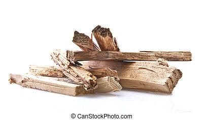 kindling wood on white background