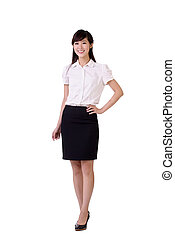 Kindly business woman of Asian, full length portrait...