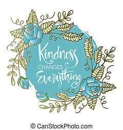 Kindness changes everything. Inspirational quote
