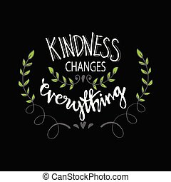 Kindness changes everything. Motivational quote.