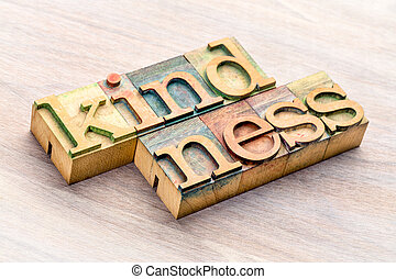 kindness word abstract in wood type