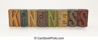 Kindness Word Block Letters - Isolated White Background