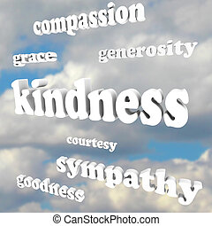Kindness Words in Sky Compassionate Generous Background -...