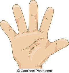 kind's, hand, het tonen, vijf, hand, tellen