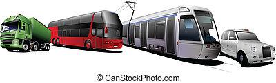 Kinds of city transport. Colored Vector illustration