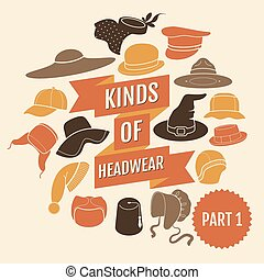 Kinds of headwear. Part 1. Flat icons