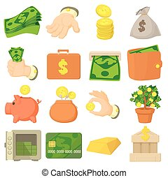 Kinds of money icons set, cartoon style - Kinds of money...