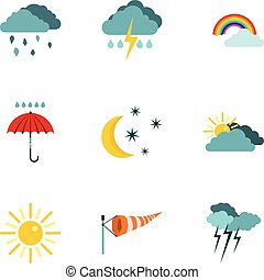 Kinds of weather icons set, flat style
