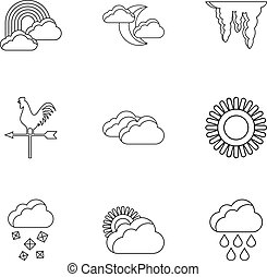 Kinds of weather icons set, outline style