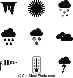 Kinds of weather icons set, simple style