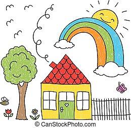 kind's, tekening, van, een, woning, regenboog, een