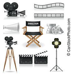 kinematografia, ikony, komplet, kino