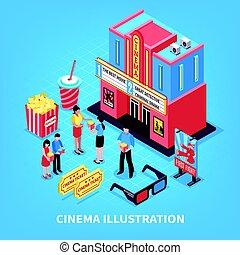 kinematografie, isometric, design, pojem