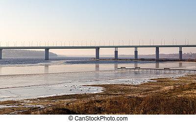Kineshemsky bridge over the river Volga. Kineshma. Russia - ...